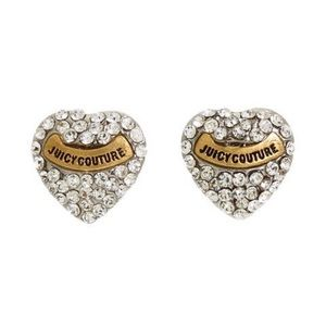 Juicy Couture Crystal Pave Heart Stud Earrings